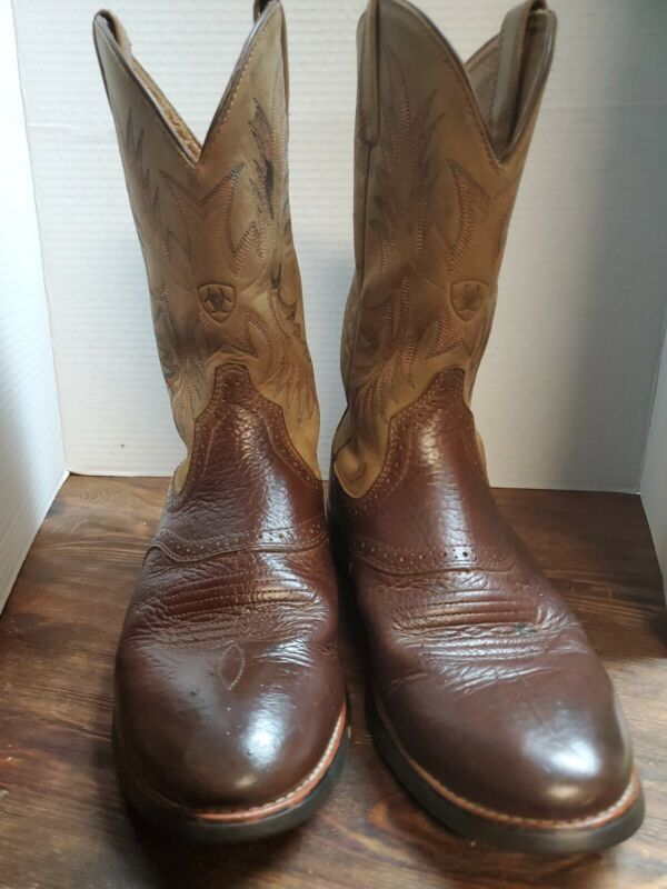 Ariat, Mens, 10.5, D, Cowboy, Boots, , Western, Distressed, 2, Tone, , Brown, Leather/Tan,
