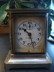 VINTAGE SEIKO BRASS CARRIAGE CLOCK WITH KEY DESK MANTLE CLOCK