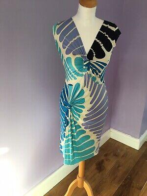 ISSA Blue and white striped 100% silk designer shift dress size 6