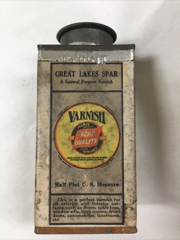 Great Lakes Spar Acme Quality Varnish 1/2 Pint Tin Antique