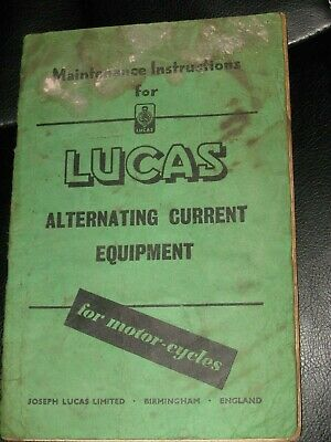 VTG Maintenance Instructions LUCAS Alternating Current Equipment Motorcycles UK