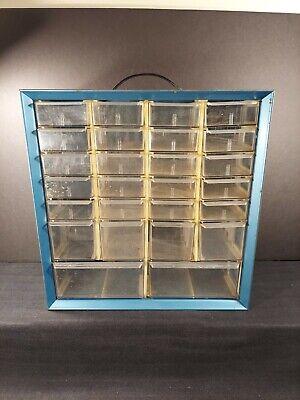 Vintage Akro-mils 26 Drawer Metal Organizer Storage Cabinet Blue