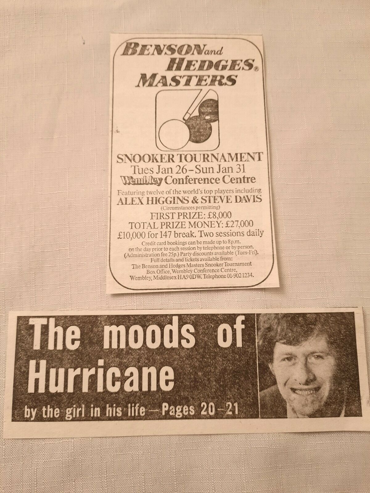 1981/82 ALEX HURRICANE HIGGINS v STEVE DAVIS Small Newspaper Report Cuttings