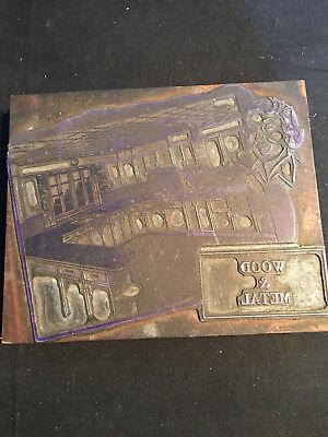 Old Vtg Wood Metal Print Wood Block Printing Stamp