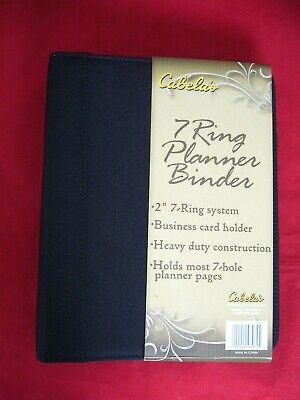 New Cabelas Daytimer Style Black Canvas 7-ring Agenda Organizer Planner Binder