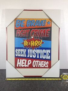 BRAND NEW Superhero word art - framed with glass