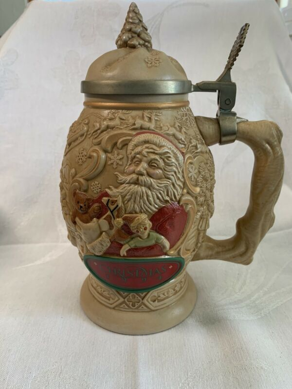 Avon 1994 Father Christmas Lidded Beer Stein Handcrafted in Brazil