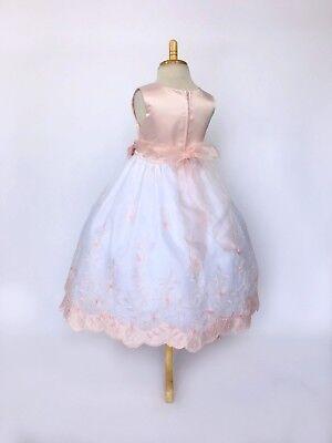 Blush Floral Embroidery Flower Girl Dress Graduation Wedding 2 4 6 8 10 12 14