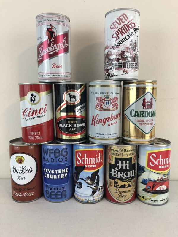 Lot of 11 Different Bottom Opened 12 oz Steel Sided Pull Tab Beer Cans