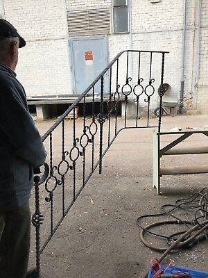 Altes Geländer mit Handlauf L 217 cm Eisen Verzinkt leicht Winkelig
