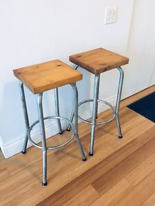 VINTAGE RECLAIMED WOOD KITCHEN STOOLS BAR HEIGHT 28.5""