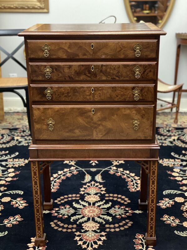 HICKORY CHAIR Walnut & Mahogany Burl Inlayed Silver Chest Cabinet Chippendale