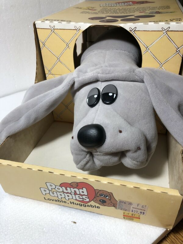 Vintage Large Pound Puppies Plush Adult Gray with Box, Papers, Collar 1985 Tonka