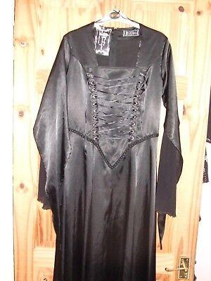 Abend Ball Kleid Satin M-L lang gothic lolita trauer schwarzLAUGHING VAMPIRE (Langen Schwarzen Vampir-kleid)