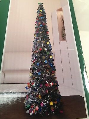 5 FT MULTIcolor Tinsel Christmas Tree Pop Up thin collapsible sequin Decorative - Tinsel Christmas Decorations