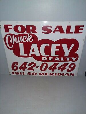 Vintage For Sale Chuck Lacey Realty Double Sided metal Sign
