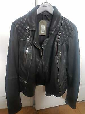 NEW All Saints Leather Cargo Black Biker Jacket £298 BNWT UK size 8