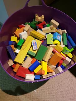 Wooden building blocks bulk lot