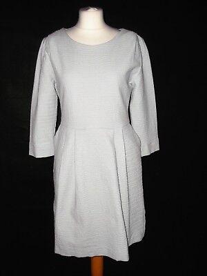 HOFMANN COPENHAGEN pale grey structured textured dress size 40 12