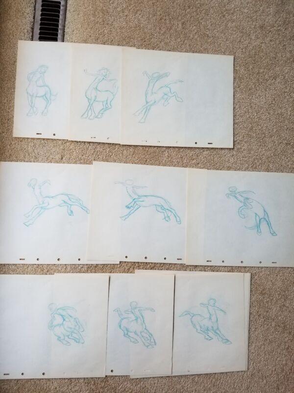 RARE ORIGINAL SKETCHES Fantasia centaurette centaur pencil drawings pastoral