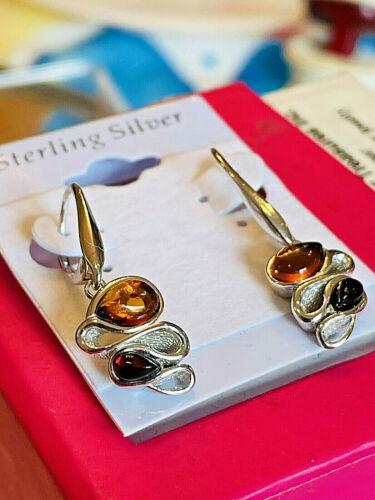 100% Genuine Russian Baltic Amber Earrings Vintage Butterscotch Egg Yolk Polish