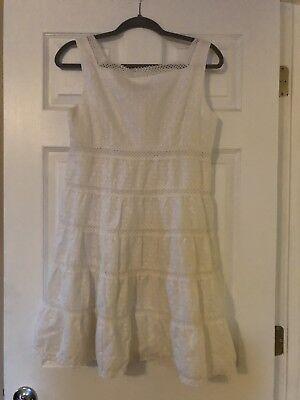 Nanette Lepore Size 8 Eyelet La Diva Dress White Wedding Button Occasion NWT