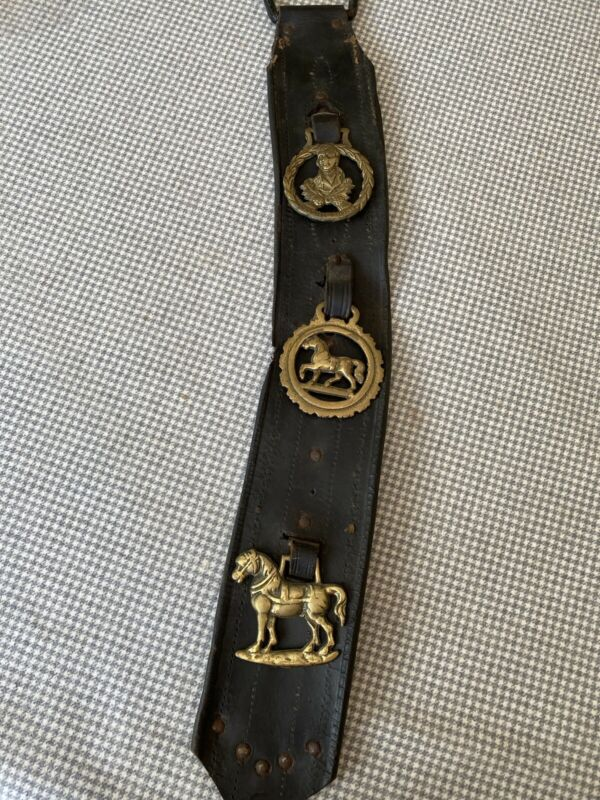 Antique Vintage Babbie Burns Brass horse harness decorations (3) w/leather strap