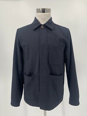 A Kind Of Guise Chore Coat Navy Stripe Flannel Medium