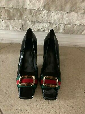 Gucci Black Patent Pump Heels Shoes with Red and Green Strap Gold Tone sz 7.5 B