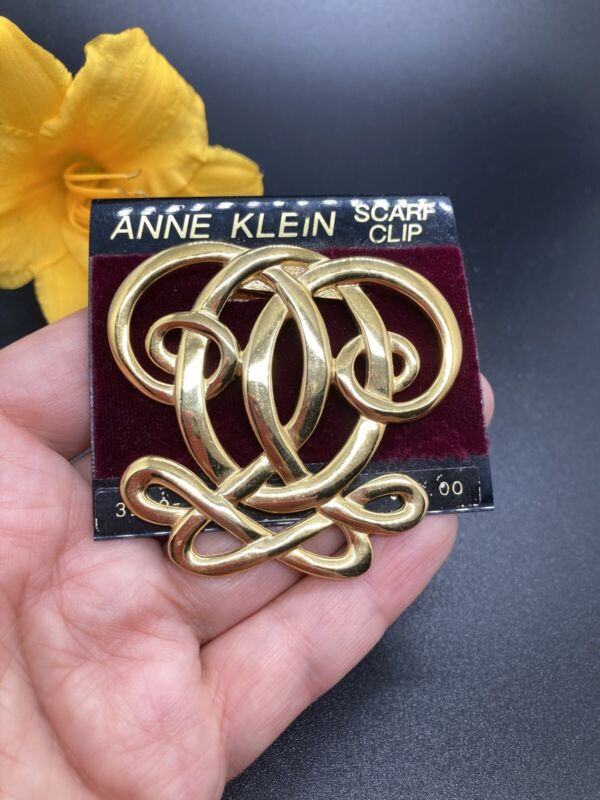 """New With Tag Anne Klein Scarf Clips Vintage Gold Tone Size 2 1/4"""" 2309"""