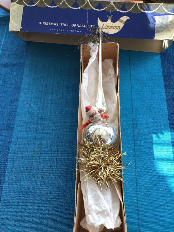 """Vintage 11"""" Glass Tinsel Wire Wrapped CHRISTMAS TREE Topper W/Santa & Garland"""