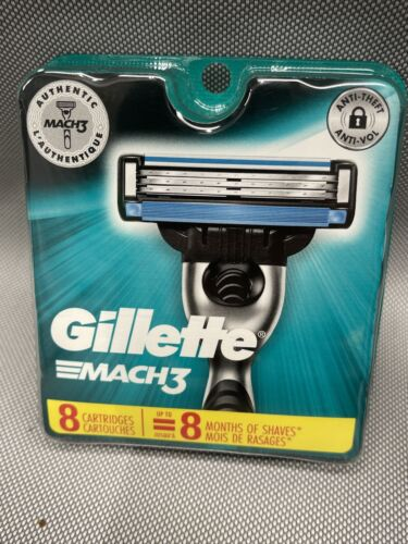 Gillette Mach 3 Razor Blades 8 Cartridges (New Sealed Package) Free Shipping