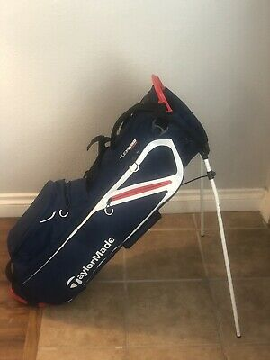Taylormade Flextech Lite Stand Golf Bag Navy Blue Red White
