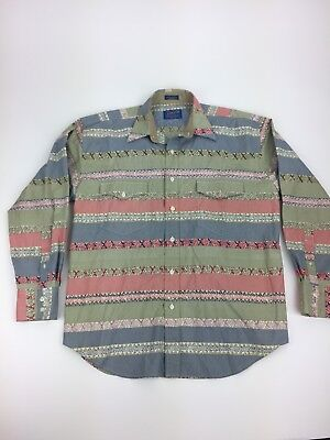 Pendleton Mens Long Sleeve Button Ip Dress Shirt Pink Green Vtg Funky Large