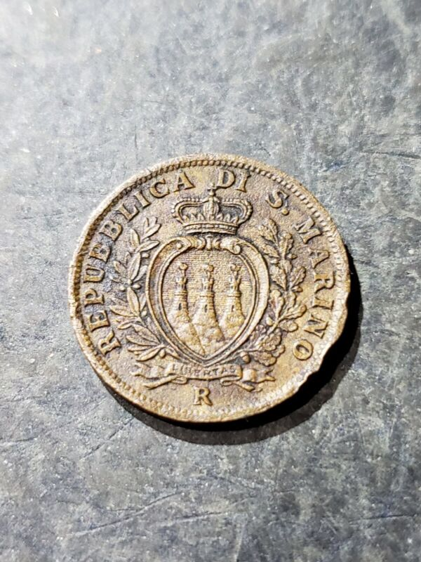 1936 R San Marino 5 Centesimi Coin