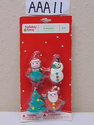 VINTAGE CHRISTMAS ORNAMENT WAL-MART HOLIDAY TIME PARTY FAVORS ERASERS-SANTA-TREE
