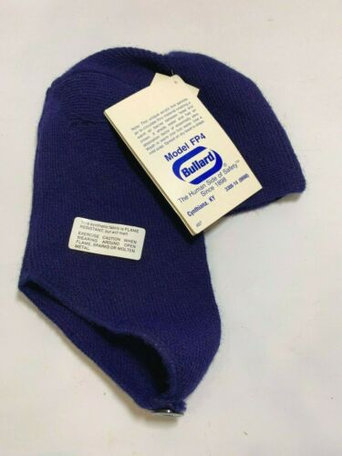 NOS Vintage Bullard Winter Liner Blue Acrylic Knit Safety Hat Cap New w/tags FP4