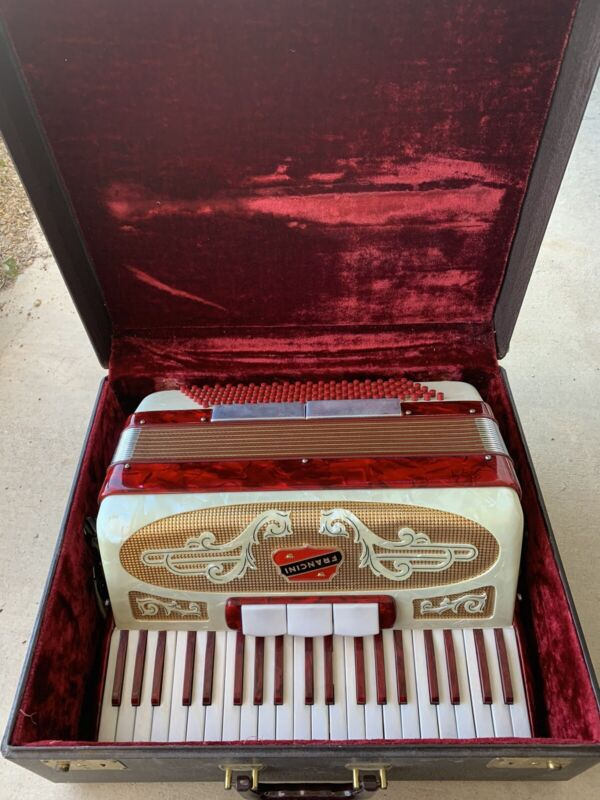 Vintage Francini Italy Piano Accordion Red Gold & Cream MOP