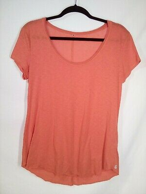 Fabletics size Large L Shirt Top Short Sleeve Coral Loose Soft Hi Low