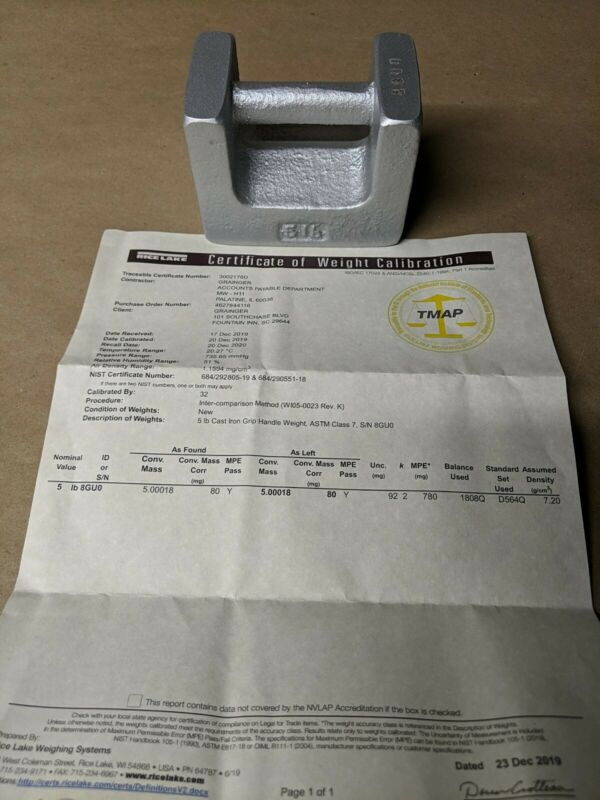 RICE LAKE WEIGHING SYSTEMS 12823 Calibration Weight 5LB New