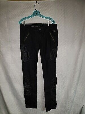 Harley Davidson Women's Pants Sz 10 Tall Black Denim Excellent Quilted Pockets