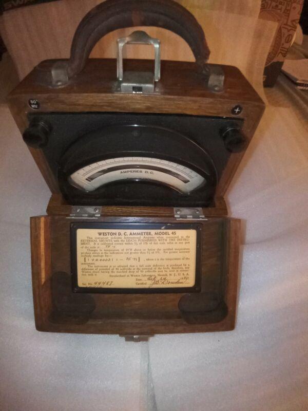 Vintage Weston Model 45 DC Ammeter in wooden case. Nice condition