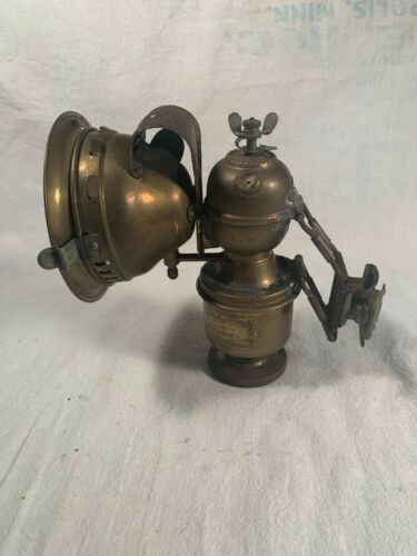 ANTIQUE MINERS LAMP CARBIDE LAMP with Adjustable Helmet Mount c1890s