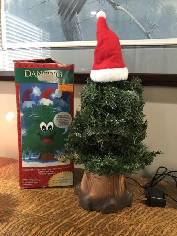 "1997 Gemmy Dancing Douglas Fir Talking Singing Christmas Tree Vintage 14"" Tall"