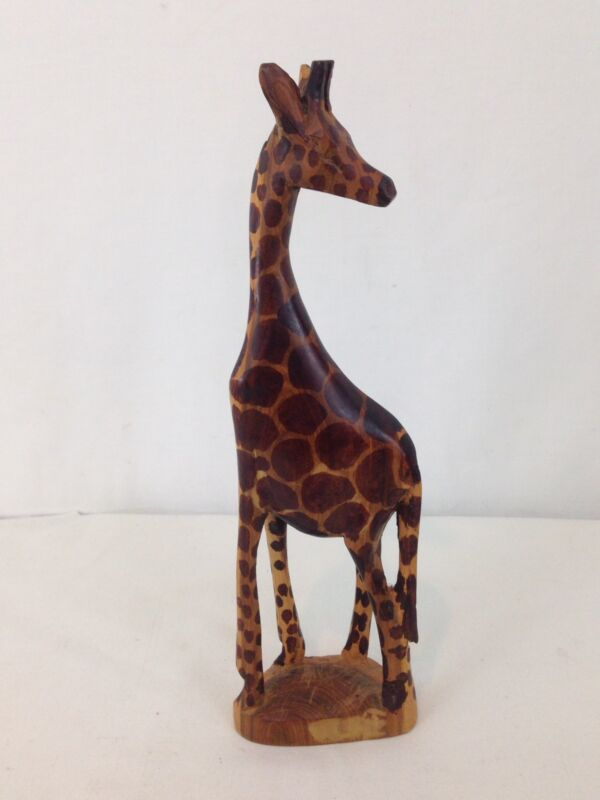 "Hand Carved 12"" Tall Wood Giraffe"