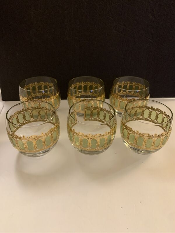 Vintage Mid Century Set Of 6 Glasses Green & Gold Round Rocks Glasses