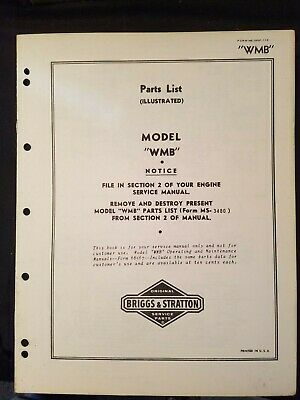 Briggs Stratton Model Wmb Parts List Circa 1938 Clean Illustrated No Markings