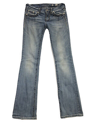 Miss Me JS2014B23 Boot Womens 26 Blue Stretch Thick Stitch Pocket Flap Jeans Miss Me Flap Pocket Stretch Jean