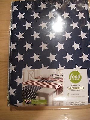 FOOD NETWORK STARS & STRIPES PATRIOTIC  4 PIECE SET OF TABLE RUNNERS  NEW
