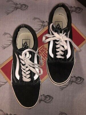 Vans Old Skool Black and White Shoes - Womens Canvas UK size 4